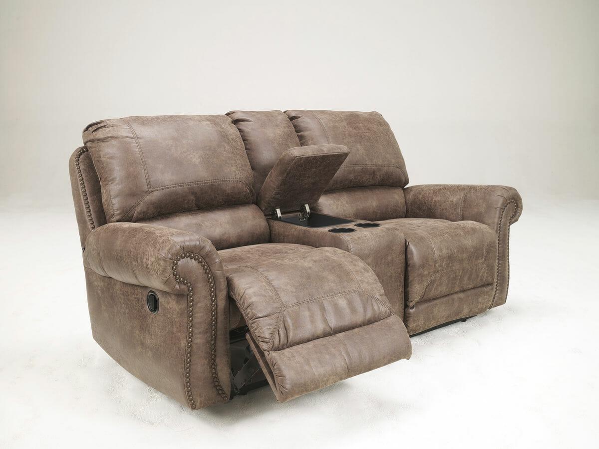 Oberson gunsmoke dbl rec pwr loveseat w console nc gallery furniture for Oberson gunsmoke reclining living room set