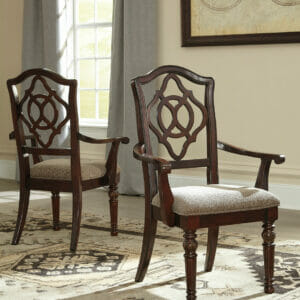 Leahlyn U2013 Reddish Brown U2013 Dining UPH Arm Chair (2/CN)