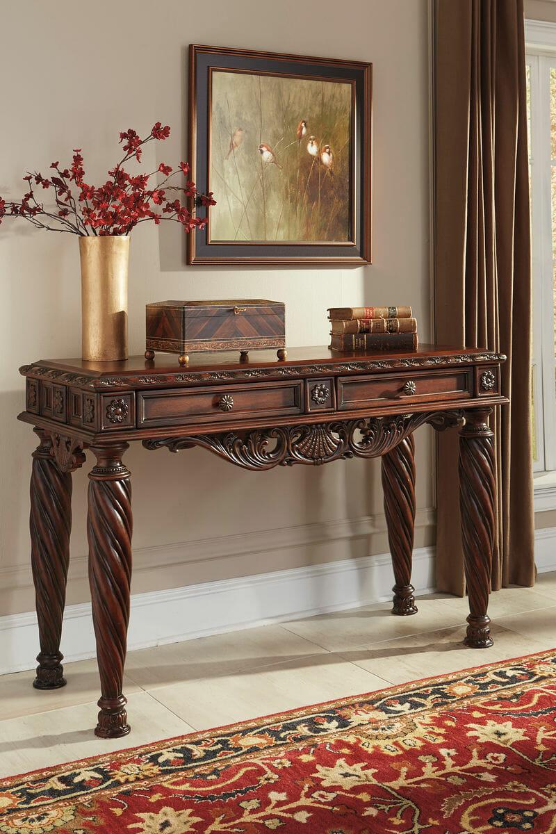 North Shore Dark Brown Sofa Table Nc Gallery Furniture