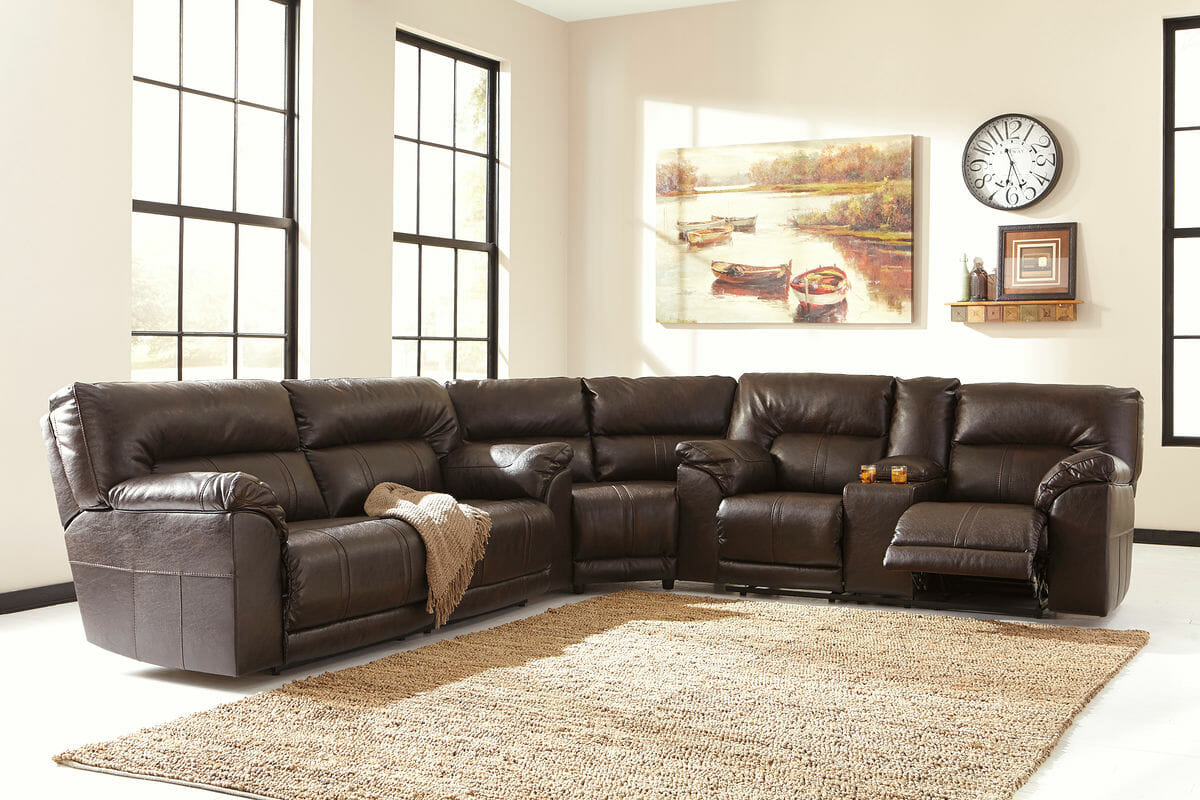 Barrettsville DuraBlend® - Chocolate - 2 Seat Reclining Sofa, Wedge & DBL  Rec Loveseat with Console