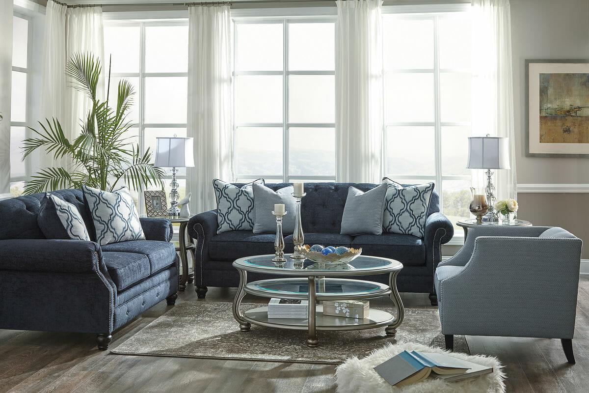 Lavernia Navy Sofa Loveseat Amp Accent Chair Nc