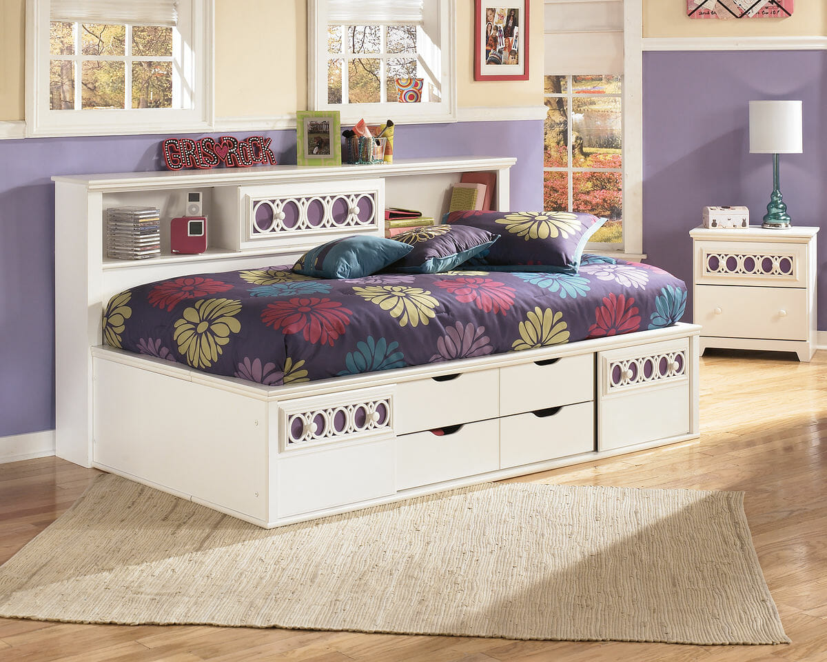 Zayley White Full Bedside Storage Bed Nc Gallery Furniture