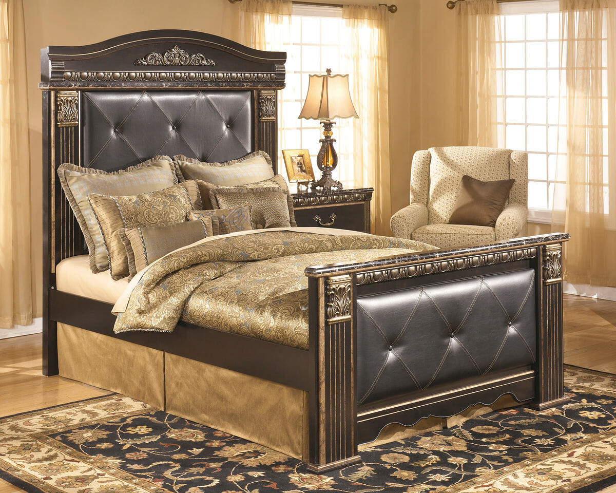 100 Mansion Bedroom Set King Mansion Bed With Faux Concrete King Mansion Bed Cherry 6 Piece