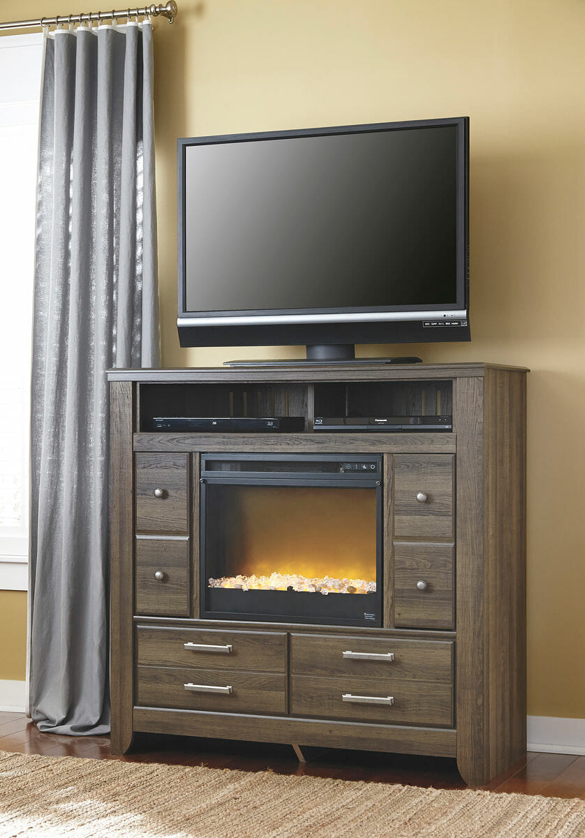 Excellent Juararo Dark Brown Media Chest With Glass Stone Fireplace Insert Home Interior And Landscaping Ponolsignezvosmurscom