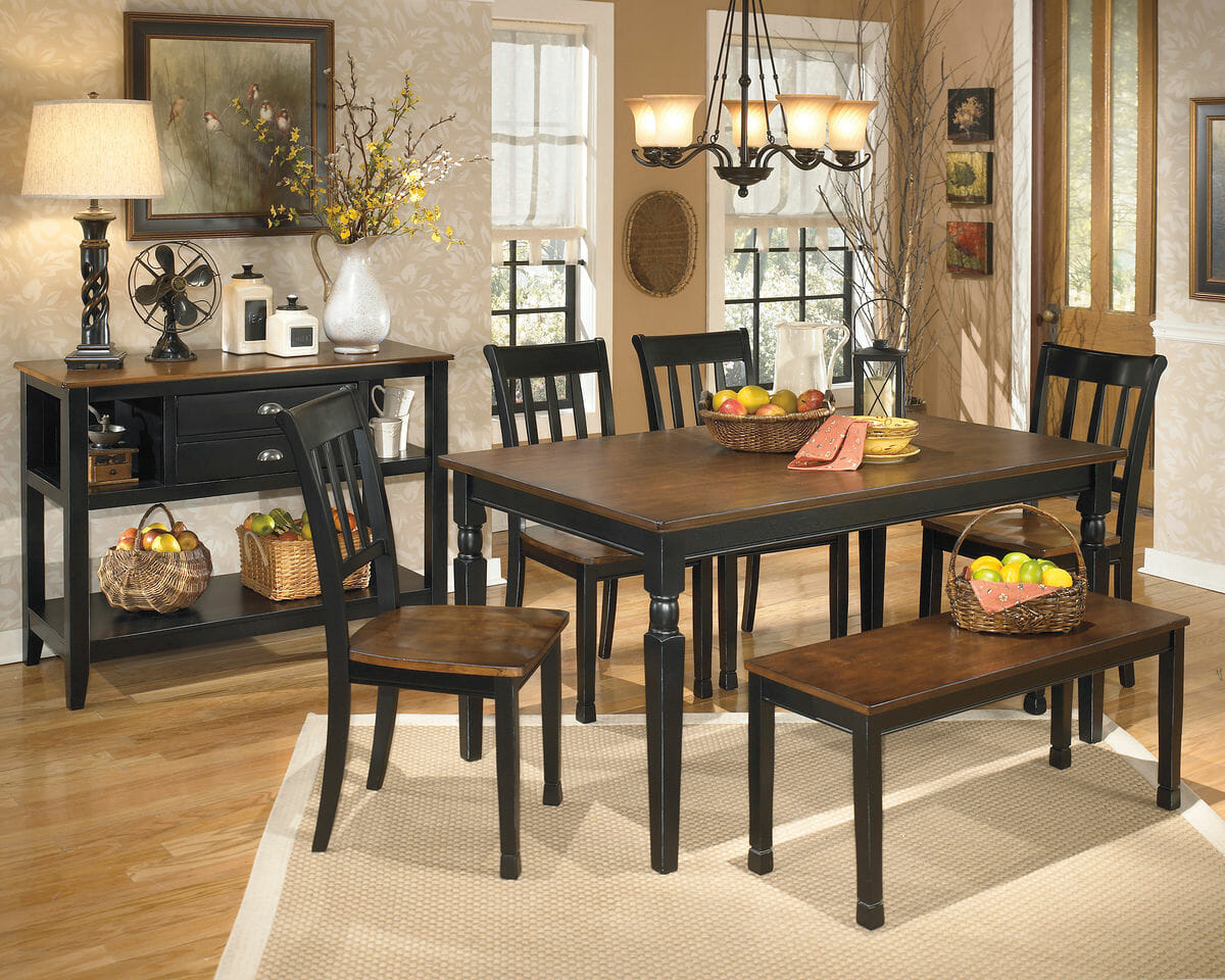 Owingsville 7 Pc Rect Dining Room Table 4 Side Chairs Bench Dining Room Server Nc Gallery Furniture