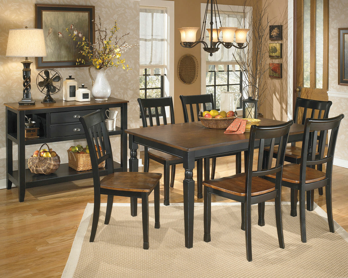 Picture of: Owingsville 8 Pc Rect Dining Room Table 6 Side Chairs Dining Room Server Nc Gallery Furniture