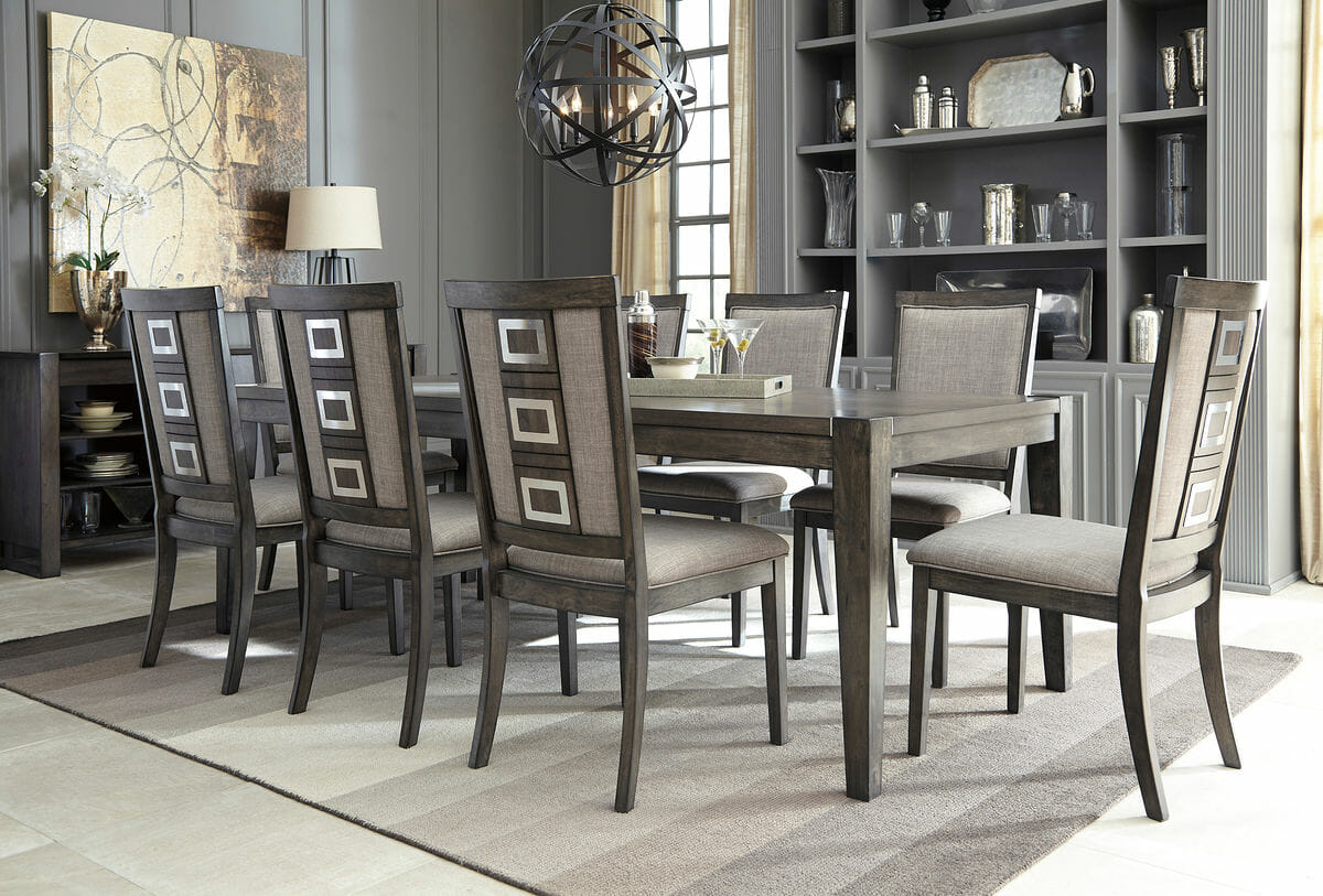 Chadoni 10 Pc Rect Dining Room Ext Table 8 Uph Side