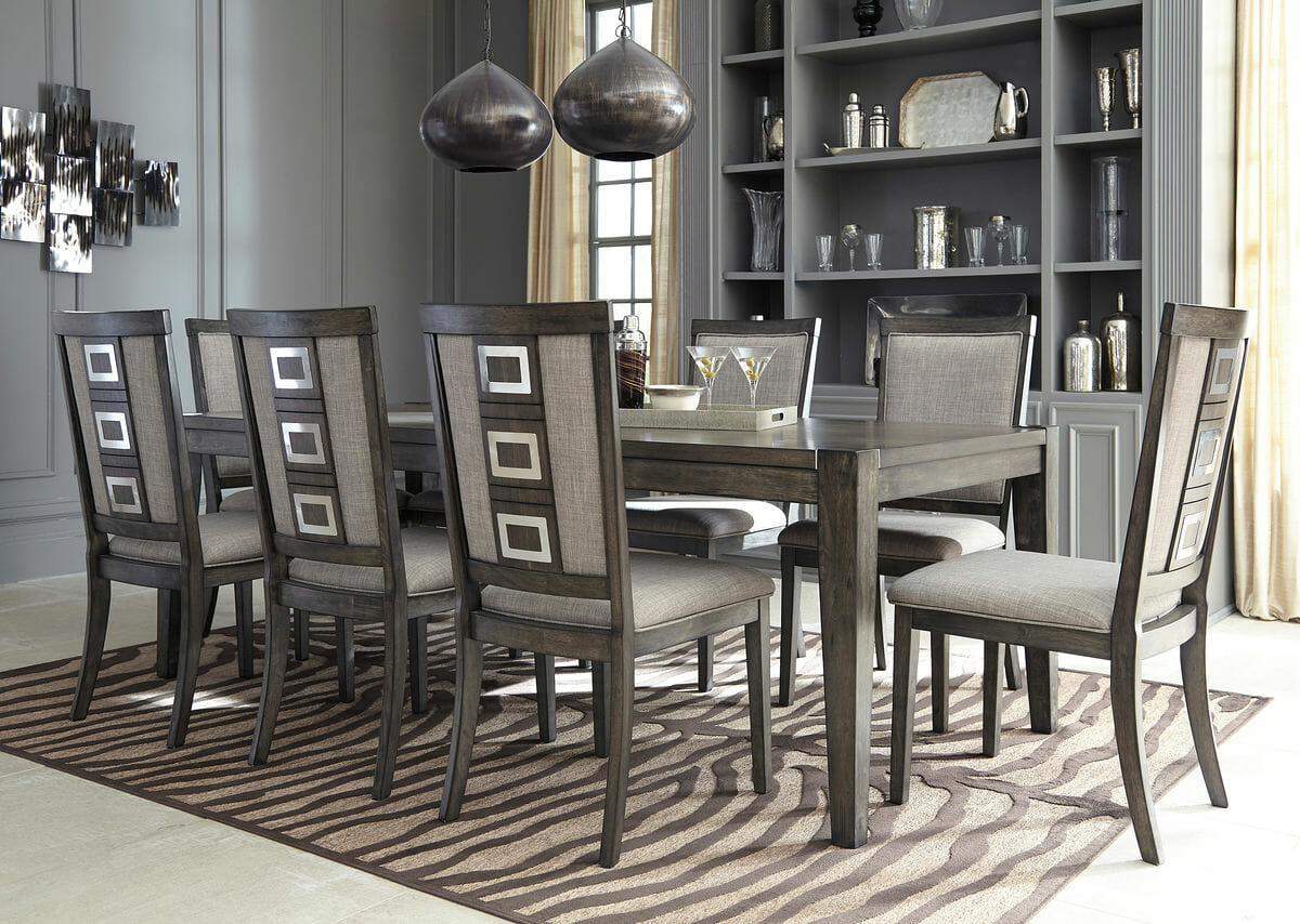 Chadoni 10 pc rect dining room ext table 8 uph side for 10 chair dining room table
