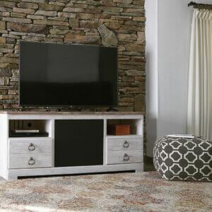 Willowton U2013 Whitewash U2013 LG TV Stand With Large Integrated Audio Option