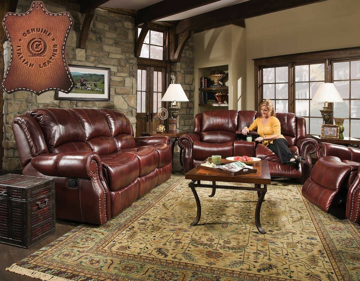 Italian Leather Match Reclining Sofa