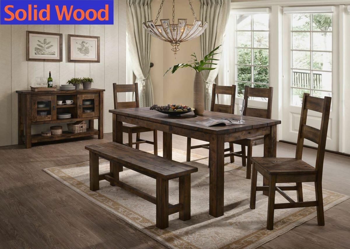 Classic Oak 6 Piece Dinette With Bench