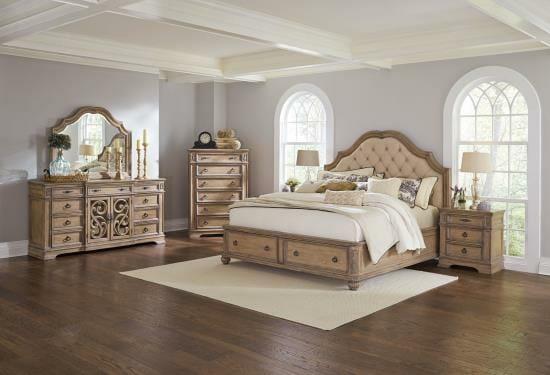 Coaster Ilana-7pc-king uph. storage bed dresser mirror chest door ...