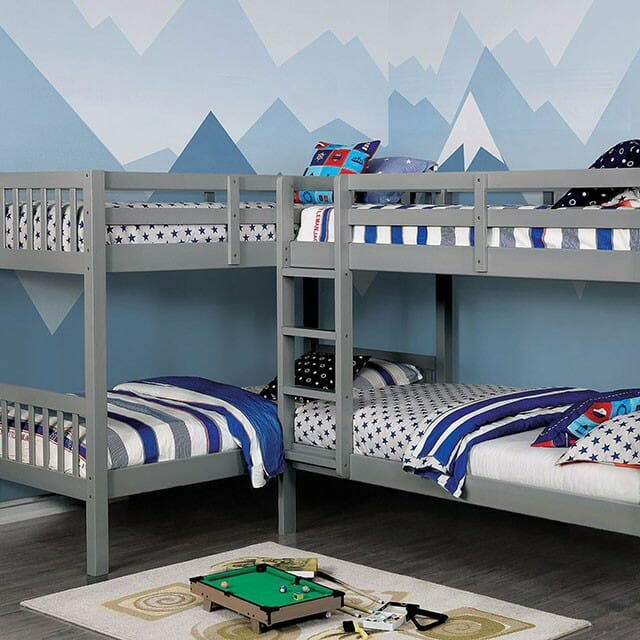 Furniture Of America Marquette Quad Twin Bunk Bed Nc Gallery